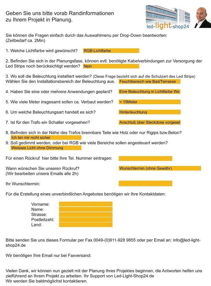 Frageformular Zur Beschreibung Der Beleuchtungsanforderung Wohnzimmer LichtGefhrte Streifen