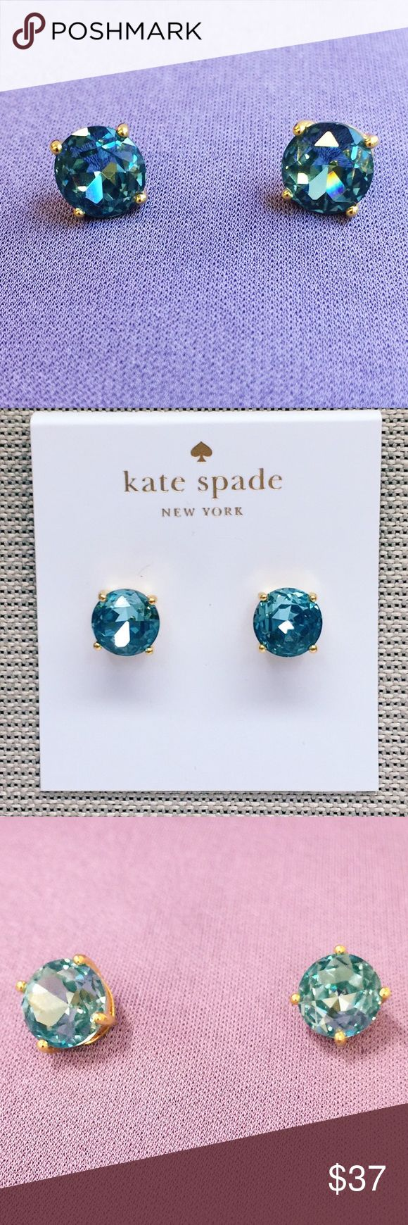 """Kate Spade Blue Gum Drop Stud Earrings Beautiful pair of brand new Kate Spade New York earrings. 2 gorgeous faceted blue stones (approximately 4/8"""" diameter) are set in gold plated silver. Post backs. The color is called """"Grace Blue"""" and changes from an almost turquoise to darker blue depending on the light. Super sparkly! kate spade Jewelry Earrings"""