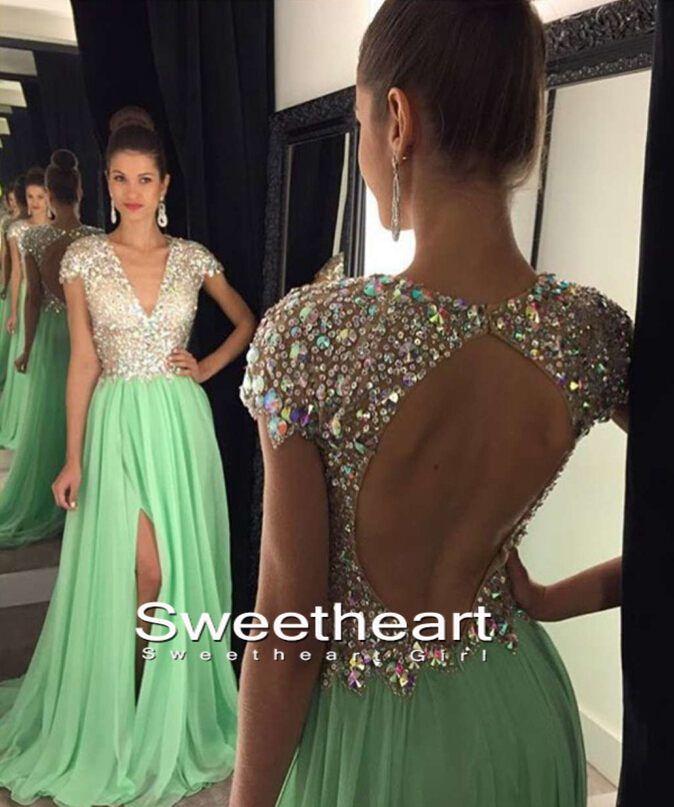 A-line V Neck Sequin Backless Long Green Prom Dresses, Evening Dresses