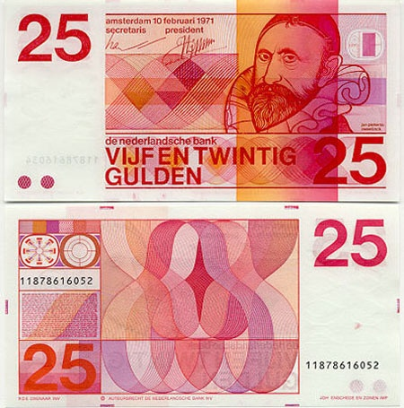 "Dutch "" vijfentwintig gulden"" bill"