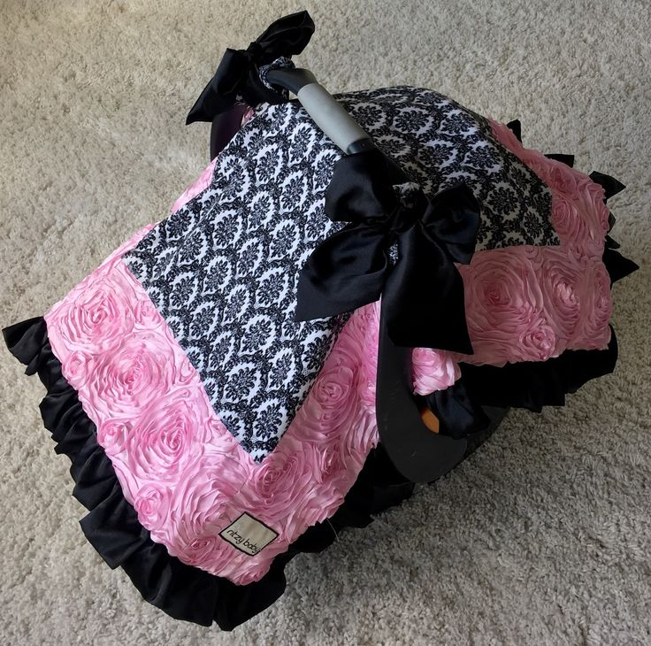 Attachable Car Seat Blanket - Black and White Damask and Baby Pink Roses