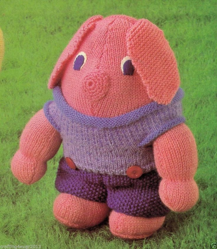 VINTAGE STANDING DRESSED PIG CUDDLY ANIMAL TOY SIZE 30 CMS 4PLY KNITTING PATTERN