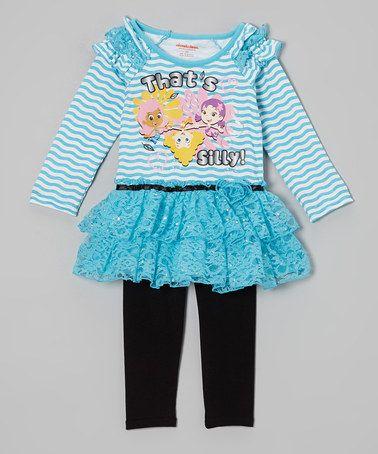 bubble guppies blue u0026 black sillyu0027 layered dress u0026 leggings toddler