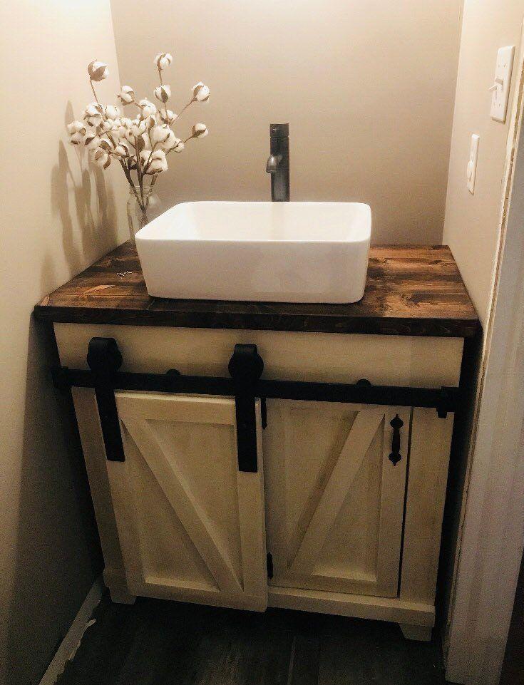 Sliding Barn Door Vanity Etsy Rustic Bathroom Vanities