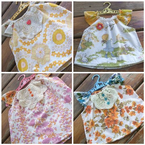 AH-dorable little girls dresses made form recycled bed sheets and vintage doilies...I love this!!!