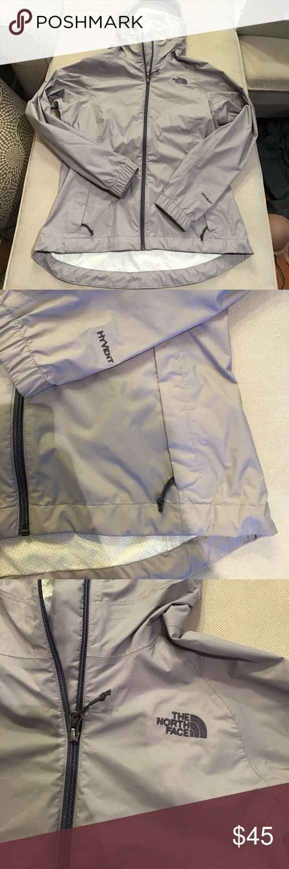 Like new grayish purple north face rain jacket This rain jacket is such a beautiful color. It is in like new condition and fits very flattering, has two zipper front pockets and one on the back of the hood, the bottom of the coat tightens as does the hood to call all wetness out! I ❤️ offers! The North Face Jackets & Coats
