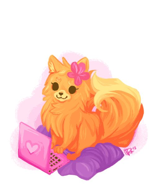 Pom gets Wi-Fi (I picked this illustration because of how it shows the different style of fur. )