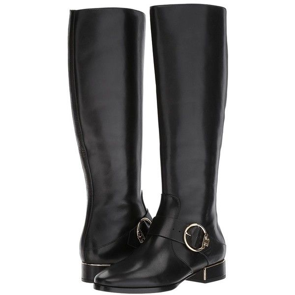 Tory Burch Sofia Riding Boot (Black) Women's Dress Boots ($498) ❤ liked on Polyvore featuring shoes, boots, knee-high boots, black platform boots, equestrian riding boots, riding boots, black leather boots and leather riding boots