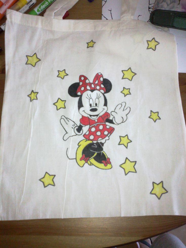 πάνινη τσάντα ζωγραφισμένη στο χέρι με μαρκαδόρους για ύφασμα