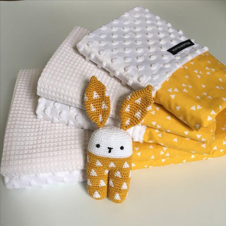 Wagendeken- Wiegdeken - Ledikantdeken - aan twee zijden te gebruiken - Muffie & Snuffie - wafelstof - babykamer - kinderkamer - handgemaakt - zwanger - baby - kraamkado