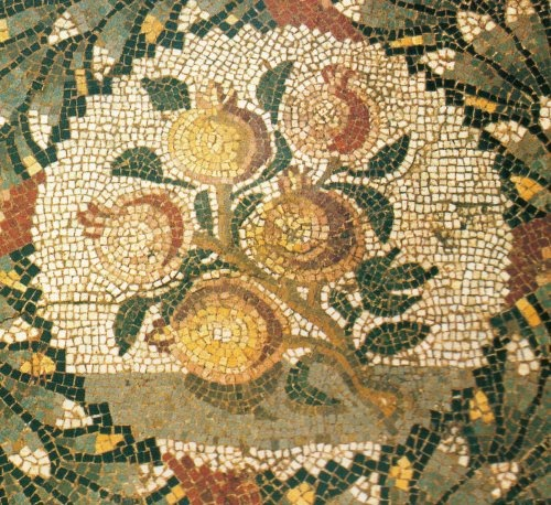 A mosaic of lemons from the Piazza Armerina, 11th century, Sicily.