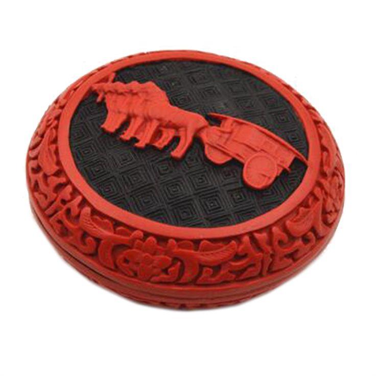 Carved Lacquerware Small Jewelry Box Terra-Cotta Warriors