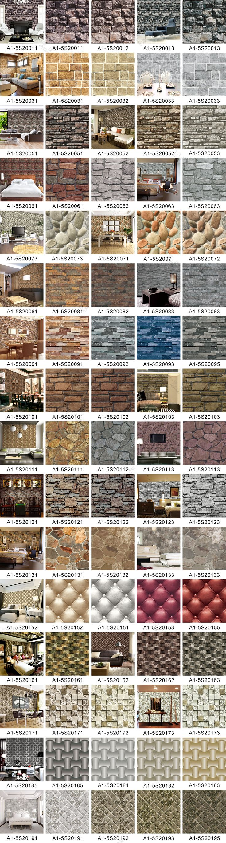 A1-4 Fashion Home Decorative PVC 3D Brick Stone Wallpaper Style: 3D; Material: PVC; Unit weight: 280g/sqm; Roll size(width*length): 0.53m*10m; MOQ: 16 rolls/design;  Contact: Kitty (oversea sales) ; Whatsapp: +86 13926037376; Wechat: Mywowgz;  Email: mywow@myhomewalldecor.com