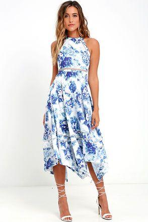 Elliatt Flourish Blue Floral Print Midi Dress at Lulus.com!
