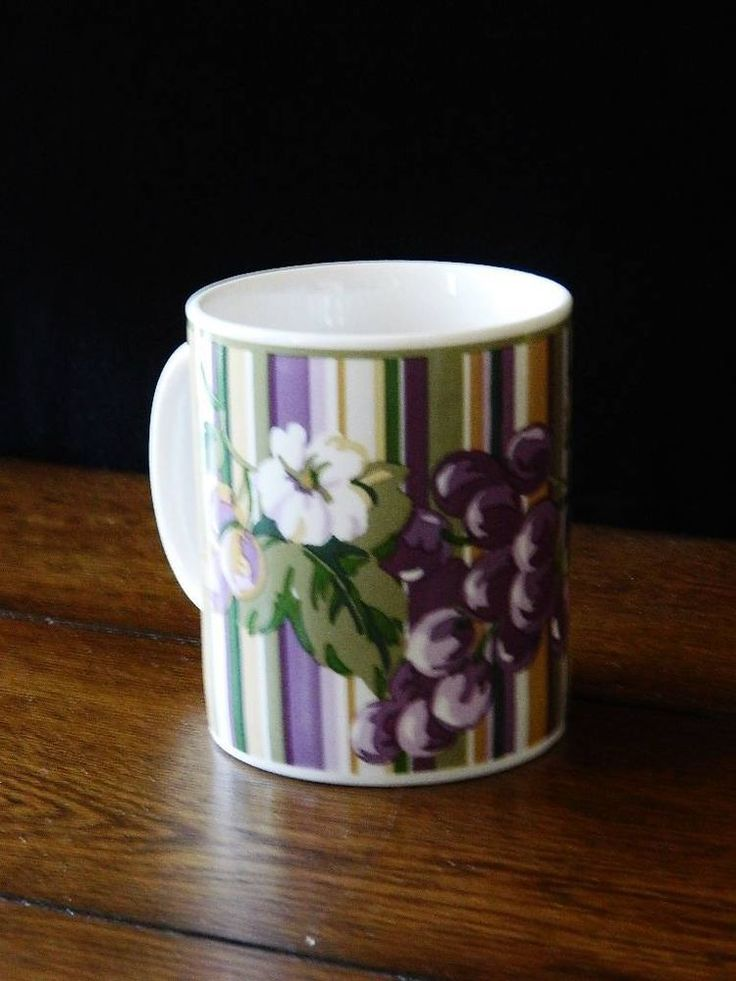 Laura Ashley Grapefields Striped Floral Mugs(s) 9 ozs #LauraAshley