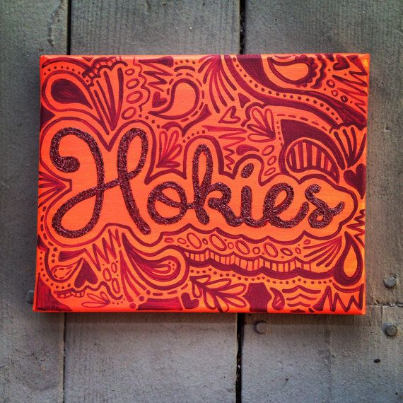 Hokies Paisley Glitter Canvas by WillCraftForTravel on Etsy