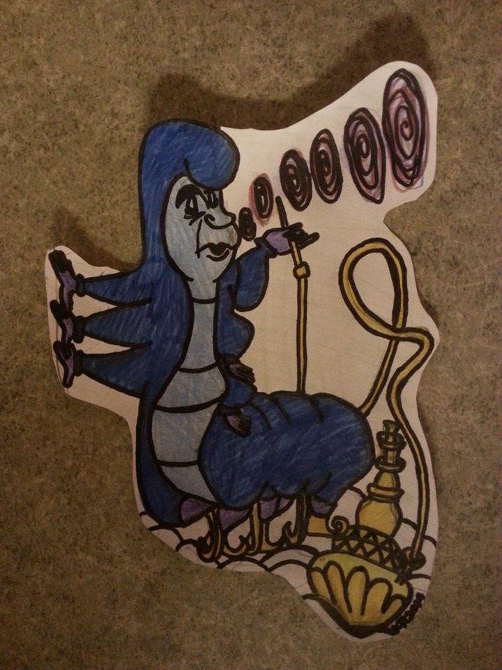 Caterpillar- Alice In Wonderland. ( Lyijykynä + tussit+ puuvärit.) #art #Disney