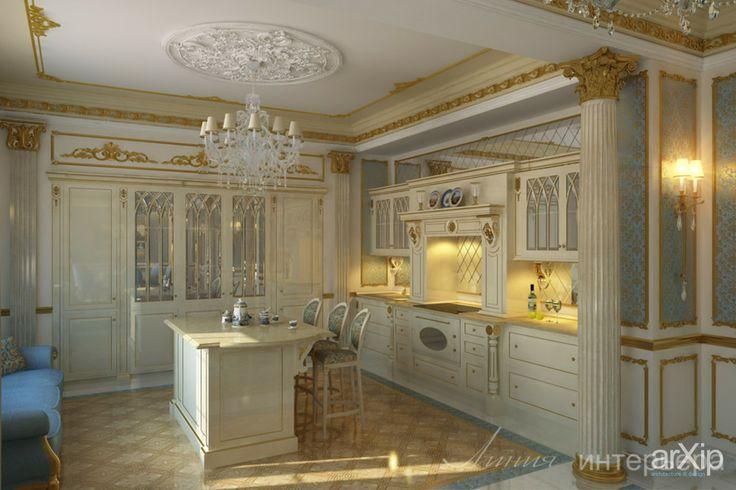 Кухня с островом в классическом стиле: интерьер, квартира, дом, кухня, английский, 50 - 80 м2 #interiordesign #apartment #house #kitchen #cuisine #table #cookroom #english #british #anglican #royal #50_80m2 arXip.com