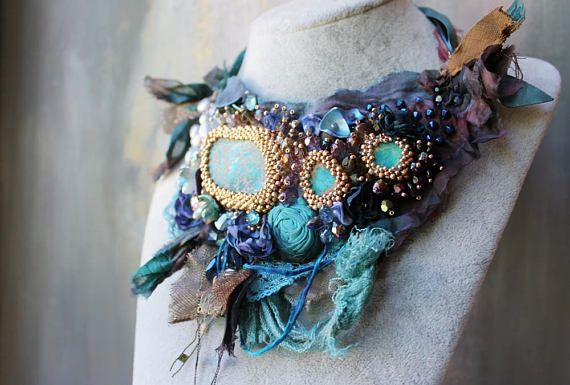 Turquoise fairy necklace Fiber art necklace Tattered fabric