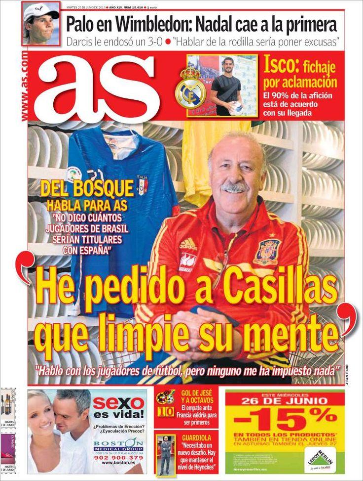 Los Titulares y Portadas de Noticias Destacadas Españolas del 25 de Junio de 2013 del Diario Deportivo As ¿Que le parecio esta Portada de este Diario Español?