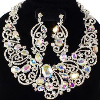 Elegant AB Crystal Swirls Necklace Set Wedding Formal Jewelry