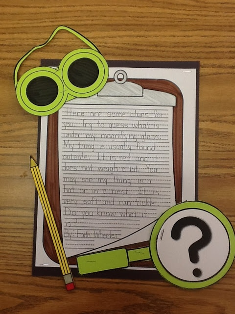 Mystery Writing (Hide an object in magnifying glass and close it. Students write about what they hid and other students try to guess based off the clues0 from 1st Grade Fantabulous
