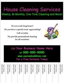 Start Your Own Small Business With Professional Business Forms And Support - House Cleaning Flyer