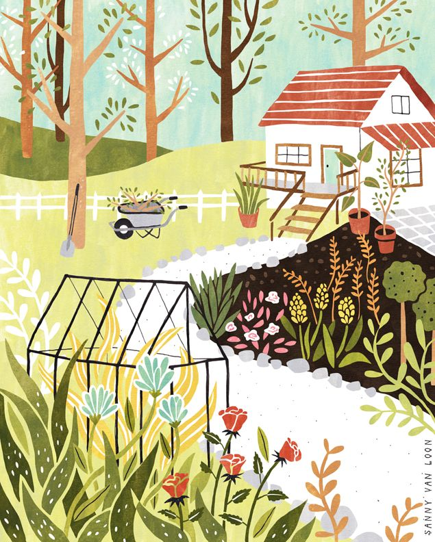 Illustration for Libelle magazine by Sanny van Loon | garden | flowers | plants…