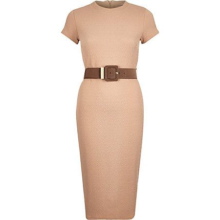 Beige belted bodycon dress - £45 #RiverIsland