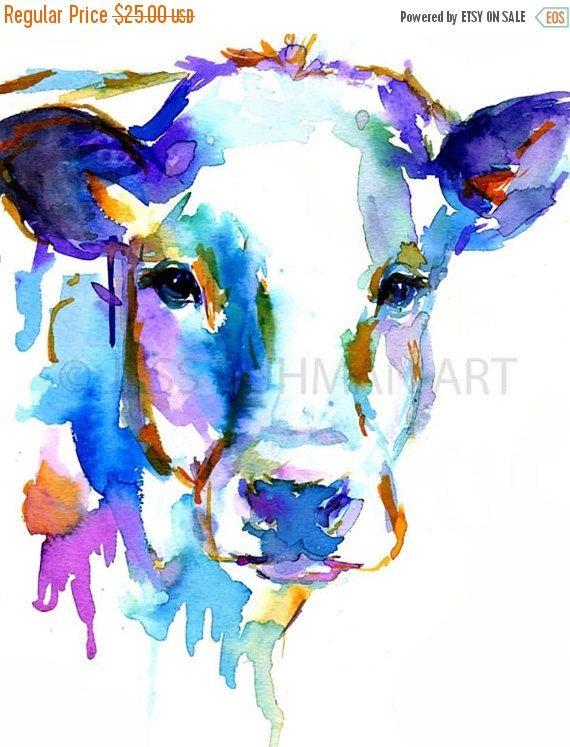 ArtAWhirl Verkauf Kuh Aquarell Print tierischen von ArtbyJessBuhman