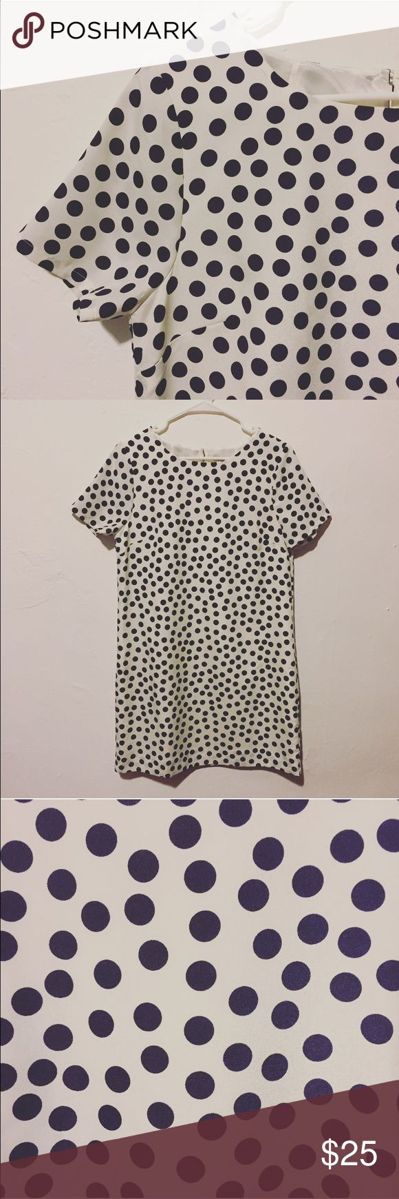 """J. Crew Polka Dot Shift Dress Never worn adorable polka shift dress from J. Crew. Dots are navy blue against a white background. Pair it with leggings and a leather jacket for the cold months and a simple pair of wedges for the warm ones! 100% polyester. 34"""" long from shoulder to hem. J. Crew Dresses"""