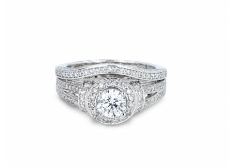 Possess a true Canadian treasure with this Victor Diamond 18k Palladium & White Gold Canadian Victor Diamond 1.37ctw Bridal Ring in VS quality with matching non-Canadian Palladium & White Gold .24ctw wedding band