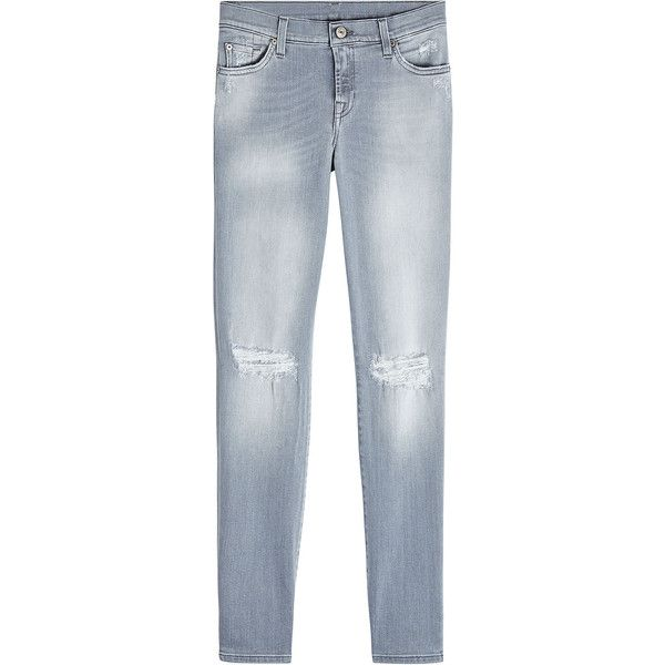 7 for all Mankind Slim Illusion Skinny Jeans (9,435 THB) via Polyvore featuring jeans, grey, grey ripped skinny jeans, distressed skinny jeans, ripped skinny jeans, grey ripped jeans и grey skinny jeans