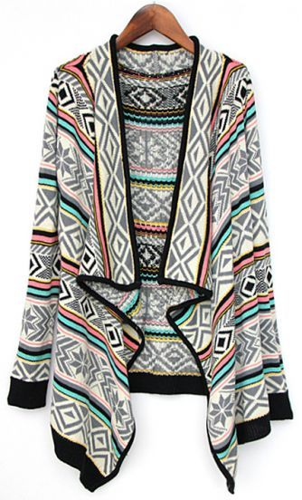 Grey Draped Collar Tribal Pattern Cardigan: