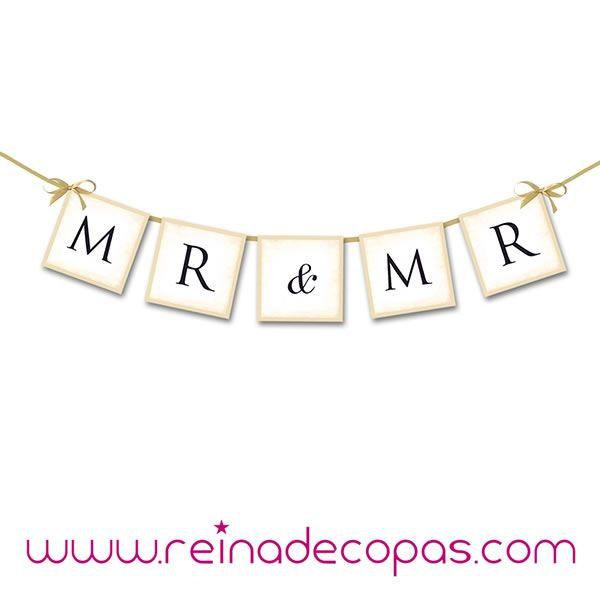 Guirnalda MR & MR. Para bodas. http://www.reinadecopas.com/es/photocall/361-guirnalda-mr-and-mr-.html
