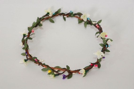 Woodland Flower Crown  mixed colors pip by AliceThorWeddings