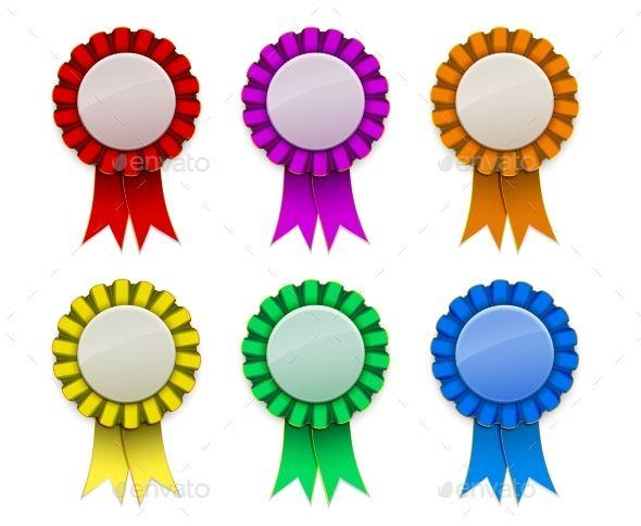 Ribbon Award badge Red Green Blue Yellow Magenta Orange on