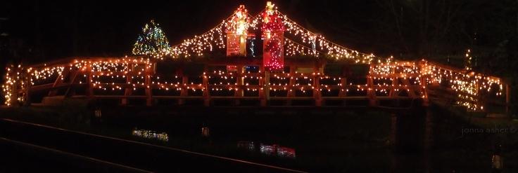 The footbridge after dark in #Metamora Indiana.   Christmas Walk ...