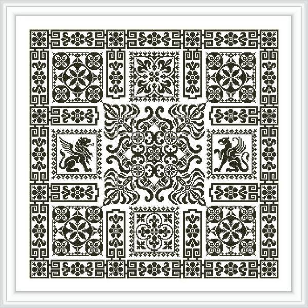 Digital Cross-stitch Chart Filet sampler Antique style Roman