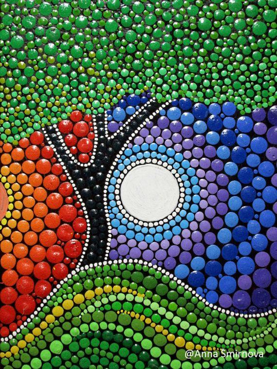 Baum zwischen Tag und Nacht. Yin Yang. Ein Magnet am Kühlschrank. Basierend auf die Malerei der Künstlerin Anna Smirnova. Ein Geschenk für jeden Anlass.