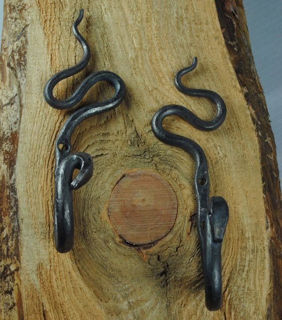 Hand Forged Steel Coat Hooks by METTLEZFORGE on Etsy, $58.00