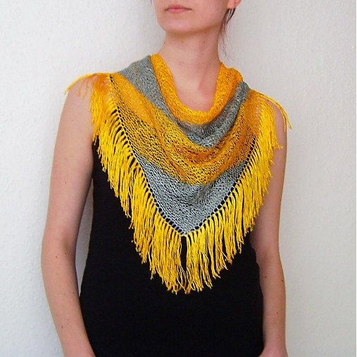 Yellow-Grey Colors Knitted Triangle Scarf / Tassels by RUKAMIshop