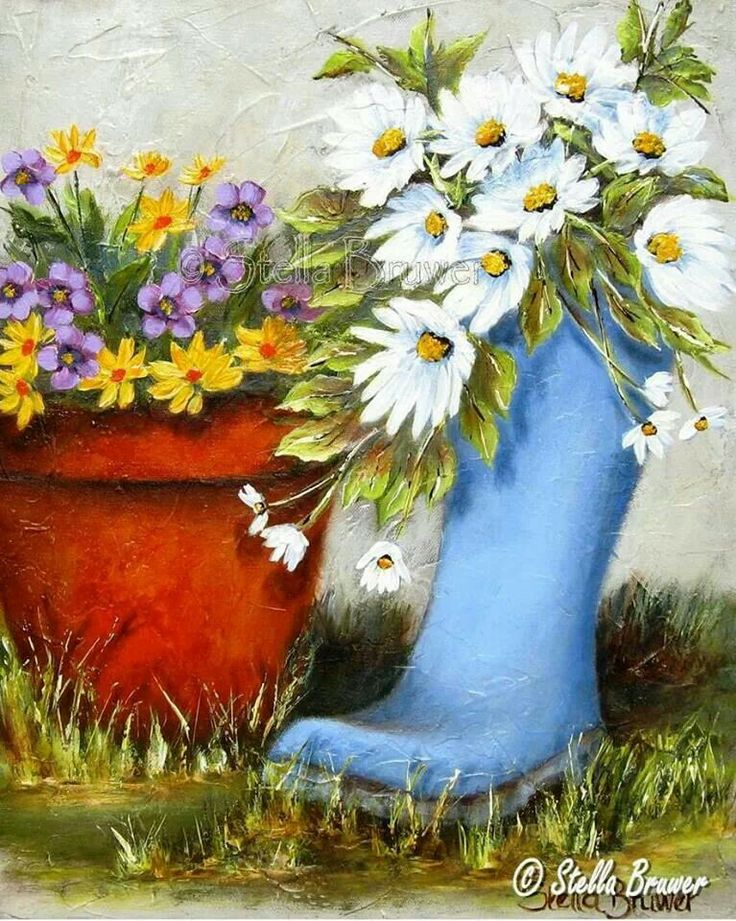 artist Stella Bruwer blue boot with daisies red pot with yellow and purple flowers