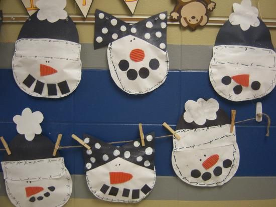 Snowman - paint up paper bags and send home with scraps of paper for family to construct together - can add stuff from home to