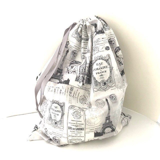 Gray Travel Laundry Bag Paris Drawstring Clothes Bag Fabric