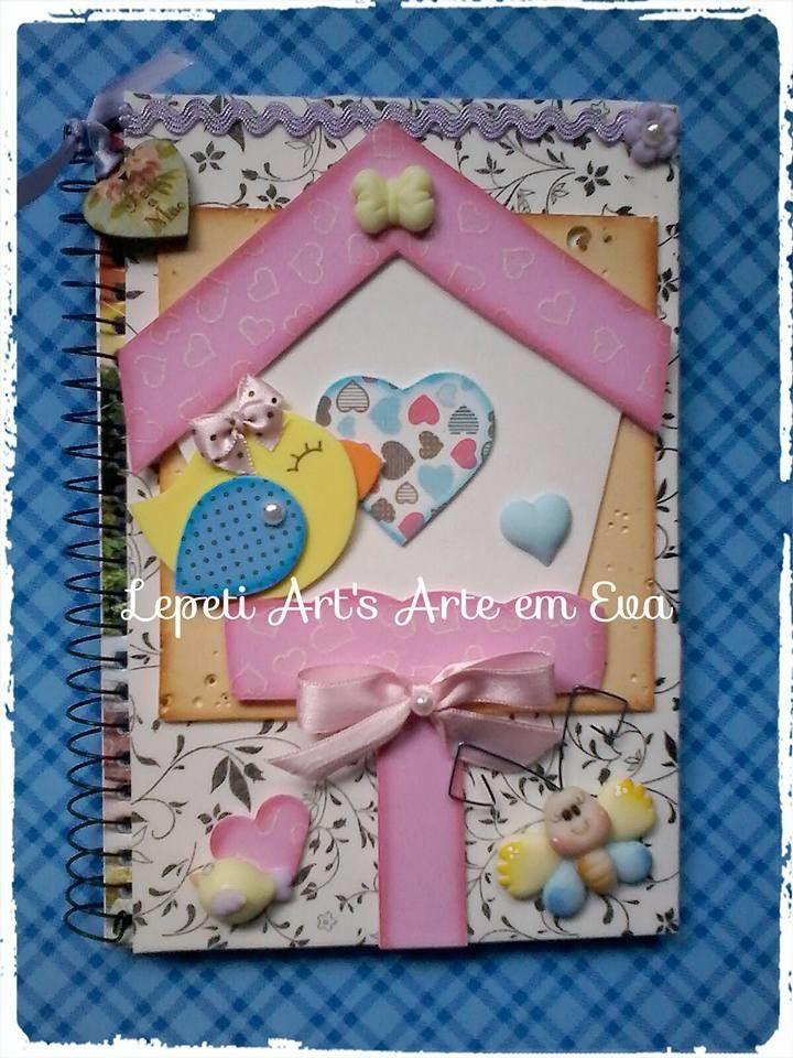 capa decorada para caderno <br>*CADERNO INCLUSO