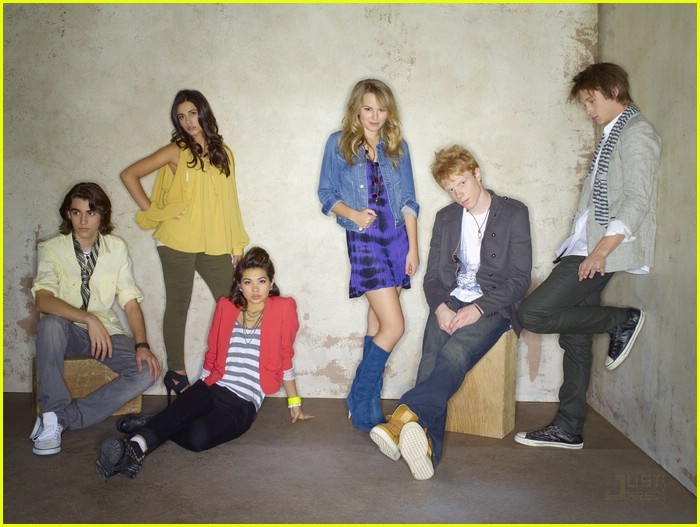 Blake Michael, Naomi Scott, Hayley Kiyoko, Bridgit Mendler, Adam Hicks, and Nick Roux