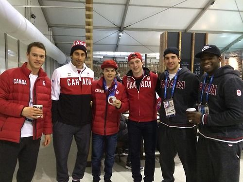 Team Canada's Jonathan Toews, Roberto Luongo, Matt Duchene, John Tavares, and PK Subban in Olympic Village