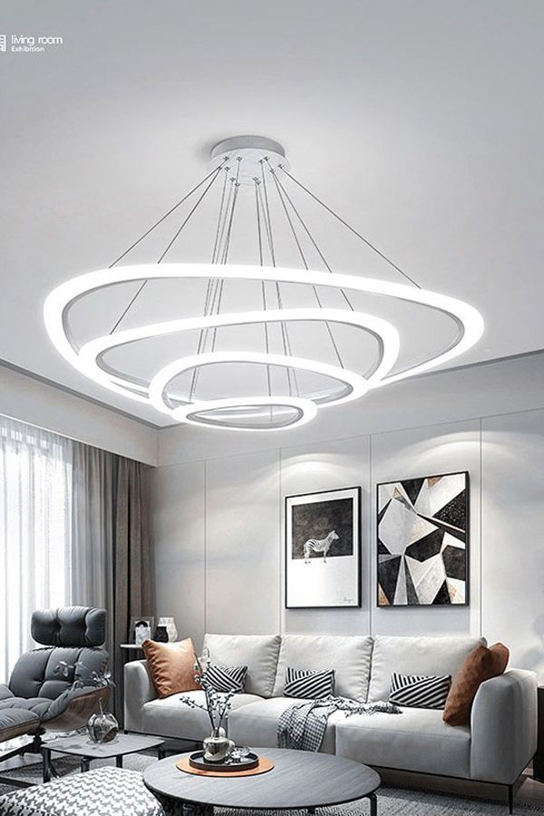 Modern Pendant Lights For Living Dining Room 4 3 2 1 Circle Rings Acrylic Led Lighting Living Dining Room Modern Pendant Light Pendant Lighting