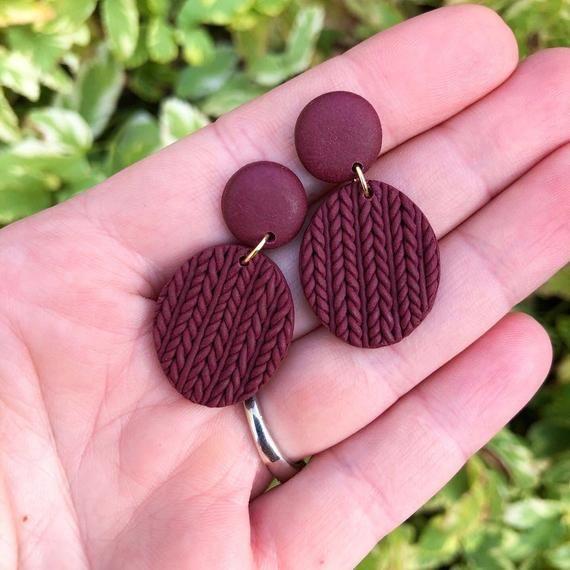 One of a kind Minimalist Marbled Jewellery Handmade Polymer Clay Jewelry Handmade Gift Purple Hexagon Stud Earrings
